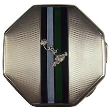 1950 Ladies Silver & Enamel Royal Corps of Signals Compact