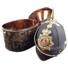 Victorian 1878 Pattern Cased Leinster Blue Cloth Helmet
