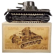 Boxed Circa 1937 German Gama Tin Plate Clockwork Tank