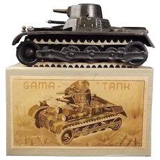 Boxed Circa 1937 German Gama Tin Plate Clockwork Tank