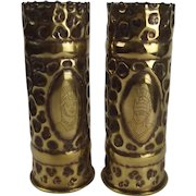 WW1 Pair Of Trench Art Shell Cases - Artist Rifles Regiment