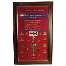 Framed Royal Regiment Of Artillery Badge Collection