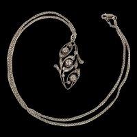 18ct White Gold Diamond Pendant & 9ct White Gold Chain
