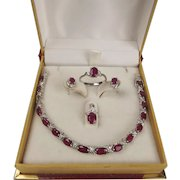 18ct White Gold Ruby & Cubic Zirconia Set Of Bracelet, Earrings, Pendant & Ring (UK size P US 7 ½)
