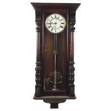 Eight Day Vienna Walnut Wall Clock c1900