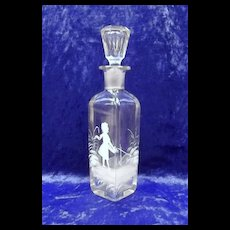 Small Mary Gregory Clear Glass Decanter