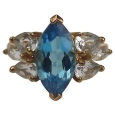 9ct Yellow Gold London Blue Topaz & Aquamarine Ring UK Size R US 8 ½