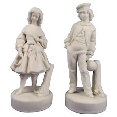 Victorian Pair Of Parian Ceramic Figures Of Children