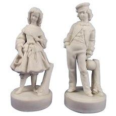 Victorian Pair Of Parian Ceramic Figures Of Children