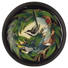 Large Framed Bird Design Moorcroft Pottery Charger – Signed Philip Gibson 2003