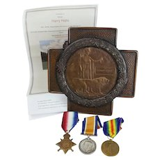 WW1 1914 Star Medal Trio & Memorial Plaque - Private Harry Halls - Royal Fusiliers