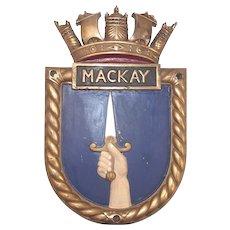 HMS Mackay, Ships Crest – Bronze Copy Screen Badge