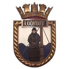 HMS Lookout, Bronze Ships Crest – Screen Badge - Unmounted