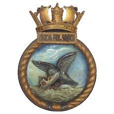 WW2 HMS Starling Submarine Aluminium Ships Crest - Sunk 14 Uboats