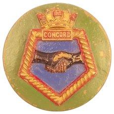 WW1 HMS Concord, Bronze Ships Crest – Tompion