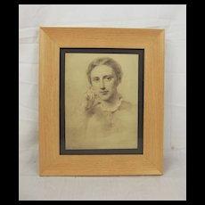 George Richmond 1809 - 1896 Framed Pencil Sketch Of A Lady