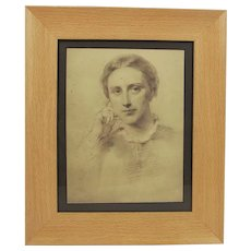 c1860 George Richmond Framed Pencil Sketch Of A Lady