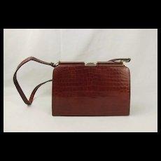 Vintage Brown Crocodile Skin Handbag