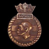 HMS Nubian Bronze Ships Crest Tompion 1937 Destroyer