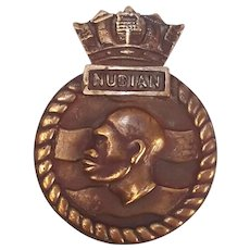 HMS Nubian Bronze Ships Crest Tompion 1937 Destroyer