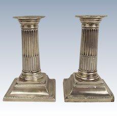 Pair Of Small Silver Corinthian Column Candlesticks Sheffield 1897