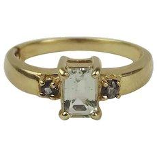 9ct Yellow Gold Aquamarine & Glass Ring UK Size N+ US 6 ¾