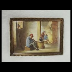 Framed Miniature Painting Of A Tavern Scene After David Teniers The Younger