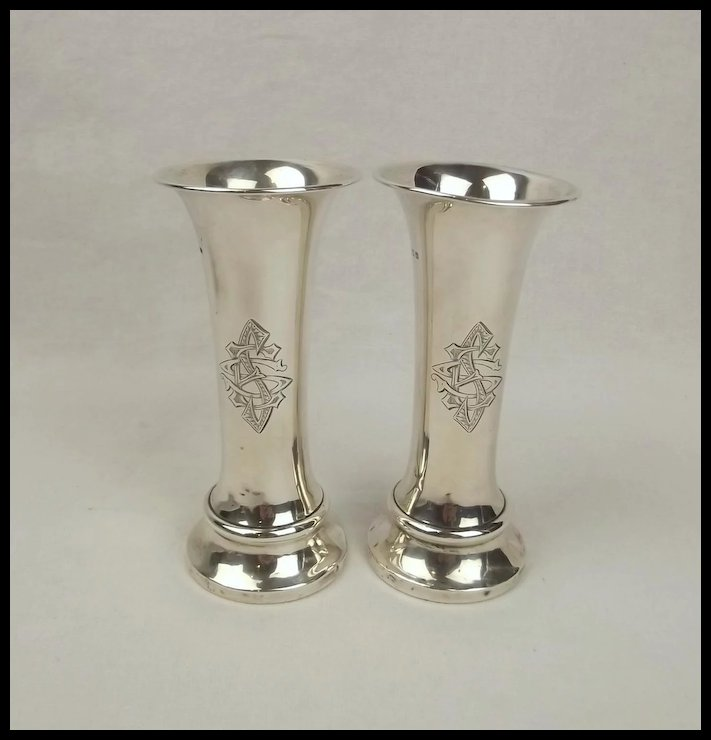 Pair Of Small Silver Monogrammed Bud Vases Birmingham 1913 The