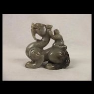 Chinese Ching Dynasty Nephrite Jade Carving Of A Dragon With A Boy On His Back