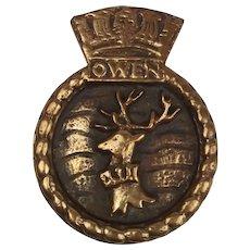 HMS Owen (K640) Bronze Ships Boat Badge 1945