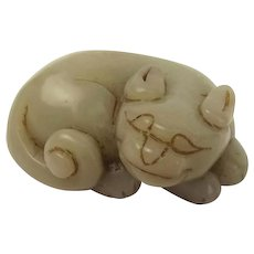 Chinese Ming Dynasty Nephrite Jade Cat