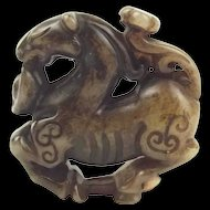 Chinese Nephrite Jade Pendant Carving Of A Horse