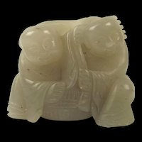 Chinese Qing Nephrite Jade Of Two Boys