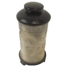 Chinese Ching Dynasty Nephrite Jade Cylindrical Lidded Brush Pot