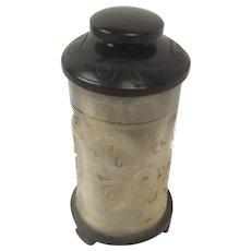 Chinese Qing Dynasty Nephrite Jade Cylindrical Lidded Brush Pot