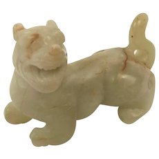 Chinese Qing Dynasty Nephrite Jade Carving Of A Lion