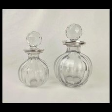 Circa 1930 Two Silver Collared Cut Crystal Glass Baccarat Decanters