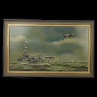 Oil On Board Painting Of HMS Victorious By Stanley Rogers 1991