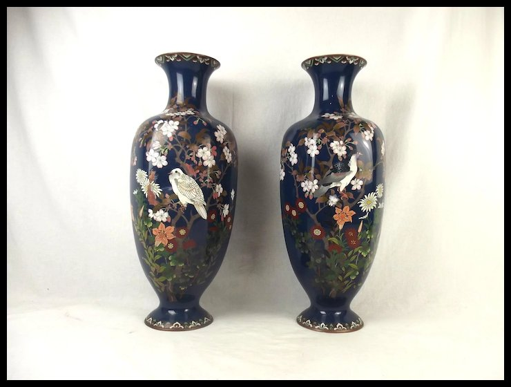 A Pair Of Japanese Cloisonne Enamel Alcove Vases Late 19th Century