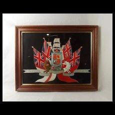 Early 20th Century Framed Royal Navy Royal Arms Silk Work