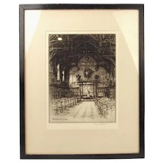Westminster School Etching, 1926 By Terence H. Lambert (Signed)