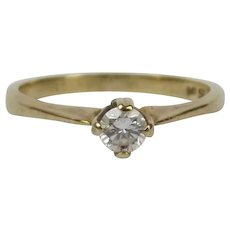 9ct Yellow Gold 0.15CTW Diamond Solitaire Ring UK Size L US 5 ½