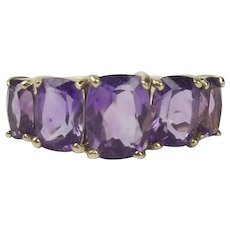 9ct Yellow Gold Five Stone Amethyst Ring UK Size P+ US 7 ¾