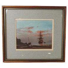 Les 'Jason' Spence Framed Pastel & Watercolour Of A Ship At Harbour c1990