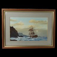 Les 'Jason' Spence Framed Watercolour Of A Ship At Sea c1990