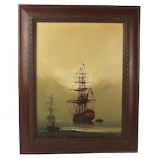 Les 'Jason' Spence Oil On Canvas Painting Of Ships At Sea