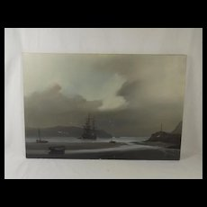 Les 'Jason' Spence Oil On Canvas Of Ship In Bay