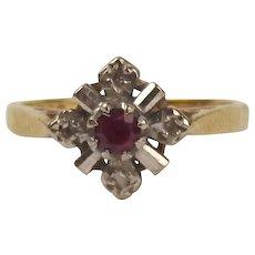 18ct Yellow Gold Ruby & Diamond Ring UK Size L+ US 6