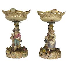 A Pair Of 19th Century German Porcelain Figural Comports