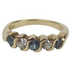 9ct Yellow Gold Aquamarine & Cubic Zirconia Ring UK Size M+ US 6 ¼